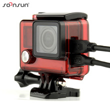 SOONSUN Skeleton Housing Case Side Open Protective Cover Box with Hole Hollow Backdoor for GoPro Hero 4 3+ For Go Pro Accessory