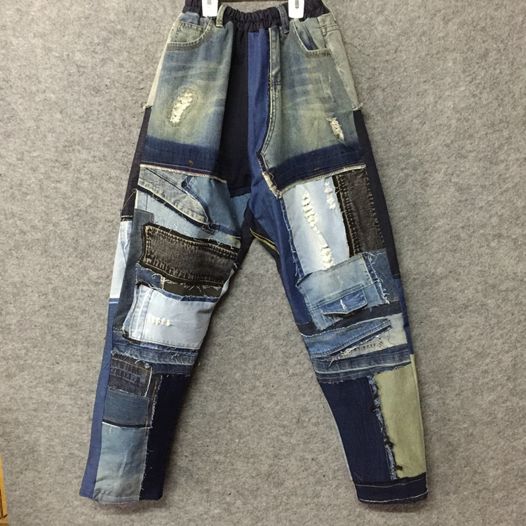 2018  Original Design Menswear Mendicant Ragged Edge Patchwork Denim Pants   M-XXL!!!  High Quality Baggy Casual Jeans.