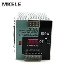 Высокая вт din рельс малый размер с цифровой монитор 500 Вт din rail импульсный источник питания LP-500-24 20.8a показывает dc напряжение