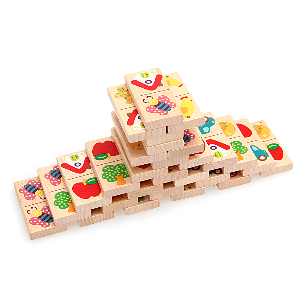 Fruit Car Colored Dominoes Wooden Puzzle Cartoon Montessori Educational Baby Toys Cute Birthday Gifts Funny Kids Games cartoon educational puzzle wooden kids toys developmental wood toy montessori jigsaw puzzle speelgoed games for children 60d0037