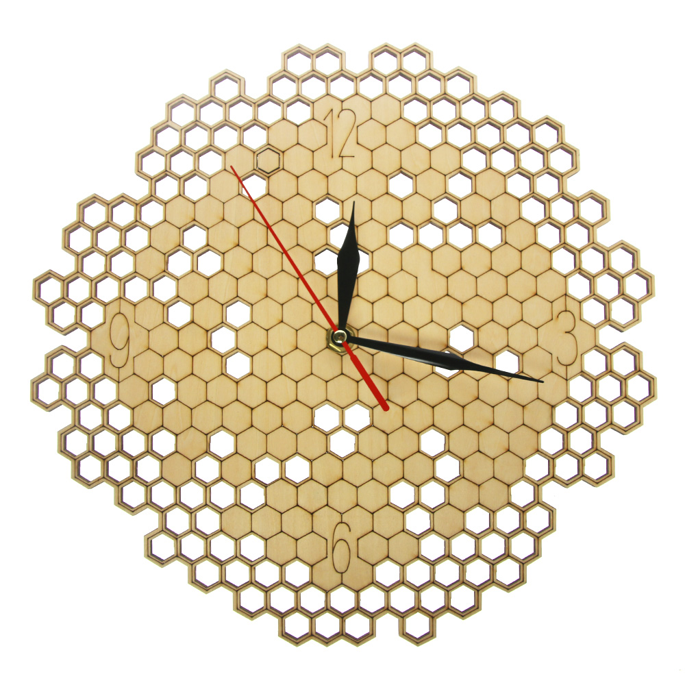 Honeycomb Wood Geometric Wall Clock Hexagon Minimalist Living Room Decor Hanging Natural Rustic Clock Wall Watch Bee Lovers Gift