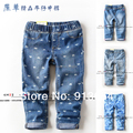 Nuevo 2014 del bebé ropa del otoño del resorte capris niño pantalones de mezclilla de impresión niñas vaqueros lavados agua ocasional