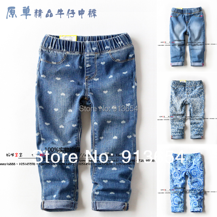 new 2014 baby's clothing spring autumn kids   pants     capris   child printing Denim   pants   girls Casual water wash jeans