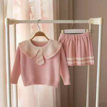 baby girls Clothes set Sweater knitwear for girls Kids cotton 2 pcs School Clothing Children outfits Shirt + Short skirt Suit 3T
