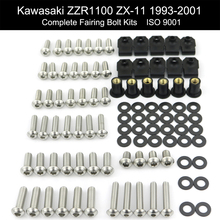 For Kawasaki ZZR1100 ZX-11 1993-2001 Motorbike Complete Fairing Kit Full Cowling Bolts Kit Stainless Steel Clips Nuts full fairing kits red black zzr 1100 90 93 94 95 96 97 98 99 00 01 full fairing kits for kawasaki zzr1100 zx1100 1990 2001