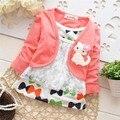 Осень и Весна Дети девушки принцесса Цветочные платья кошка футболки, детские мультфильм кружева поддельные 2 шт. футболка, V1121B