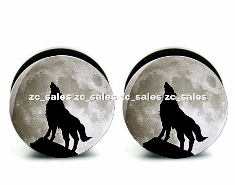 Wholesale 60pcs wolf moon logo ear plug acrylic screw fit ear plug flesh tunnel body piercing mix size 6mm-25mm A0174