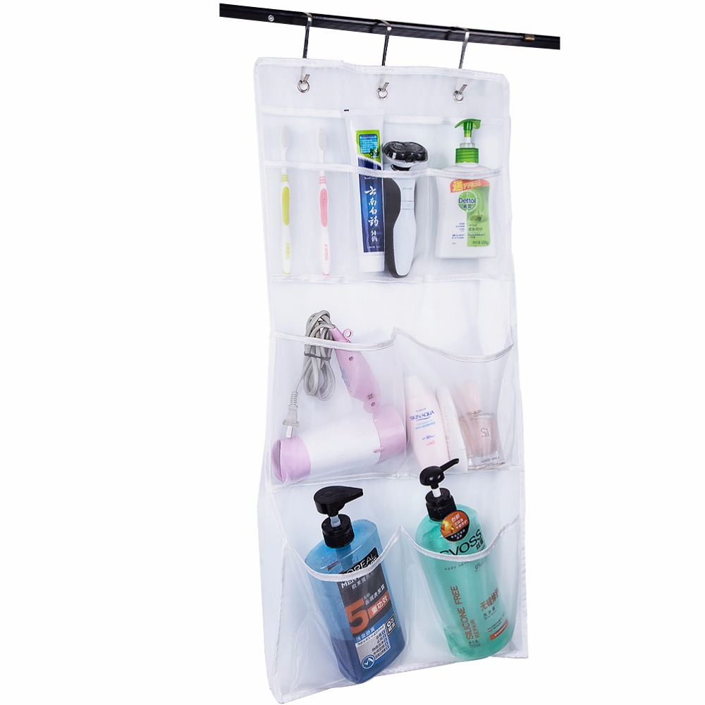 Over the Door Hanging Mesh Pockets Bath Shampoo White Shower Caddy ...