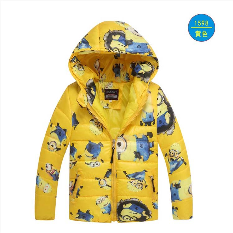 Minion Jacket Kids Down Jacket Dla chłopca Baby Minion Clothes Winter Down Coat Warm Baby Snowsuit Dziecięca kurtka z krótkim rękawem