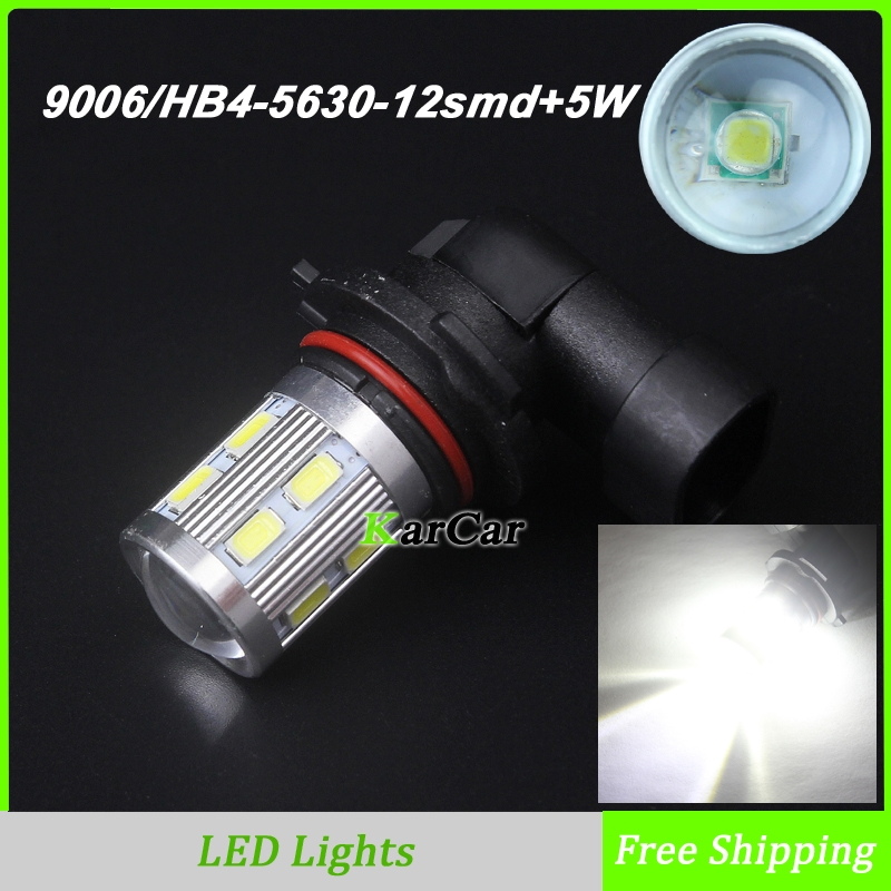 Super Bright 750LM LED Fog Bulbs 9006 Socket 5630 12SMD Chip, HB4 LED Auto Car Daytime Running Lights LED DRL Lamp 6000K White 1x car led hb4 9006 33 led 5630 smd white car auto light source fog drl daytime running driving lamp bulb daytime running light