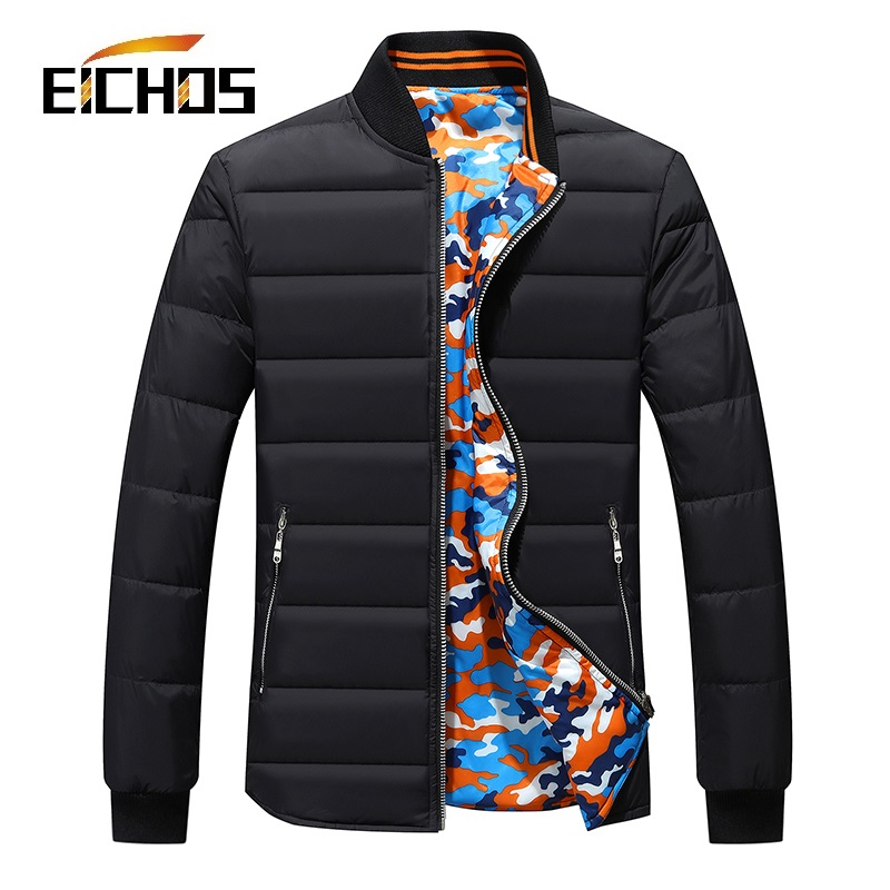 New Winter Warm Down Jacket Man Fashion Two Sided Wear Men Duck Down Jacket Stand Collar