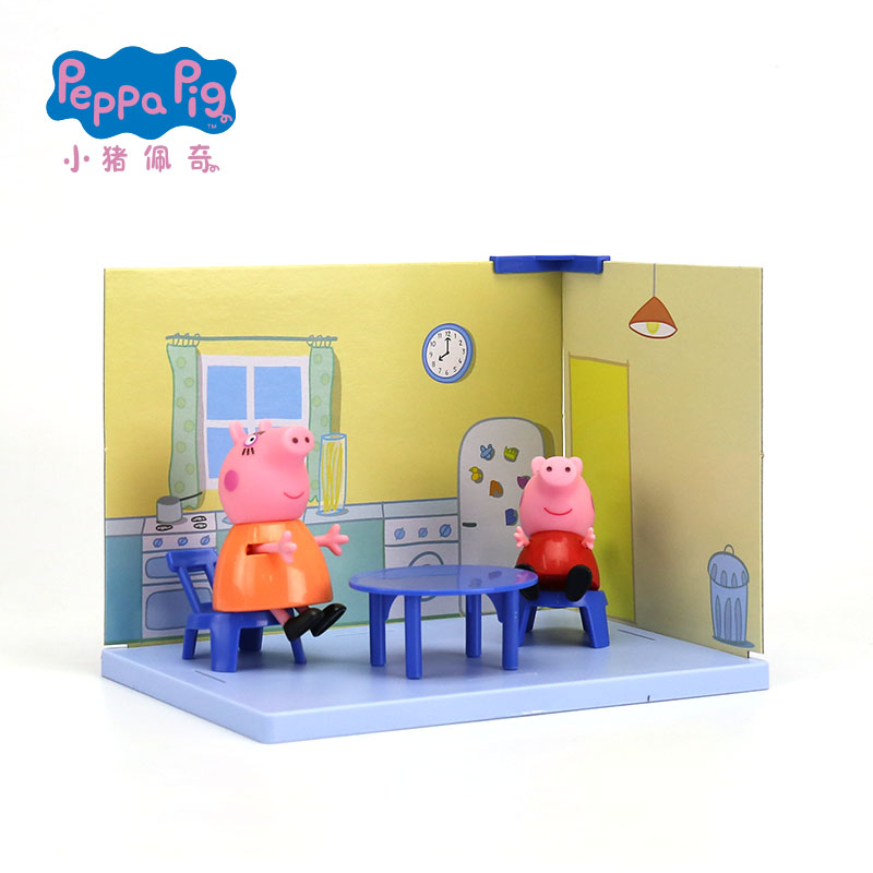 Us 11 65 15 Off Genuine Peppa Pig Peppa S Kitchen Pack Including Peppa And Mommy Pig Figures Kids Toy Gift Original Box In Action Toy Figures From