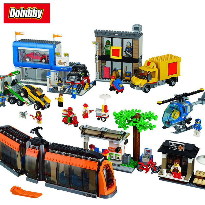 цена на City Series City Square Park Delivery Truck Building Block Bricks Toys Kids Gifts 1767Pcs Compatible With Legoings City 60097