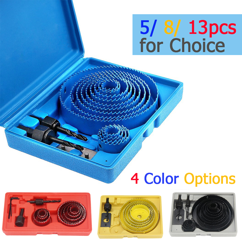 5 8 13 Pcs Hole Saw Cutting Set Kit Drilling Tool Wood Metal Cutter 19-127mm Mandrels Saws Core Drill Bits Woodworking