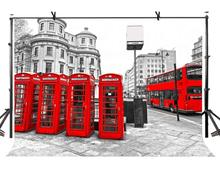 150x220cm Red Phone Booth Backdrop Retro Telephone Box British Style Photography Background for Camera Photo