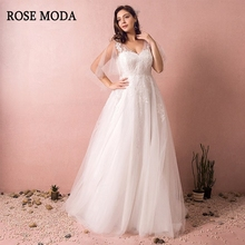 Rose Moda V Neck Wedding Dress with Sleeves Lace with Train