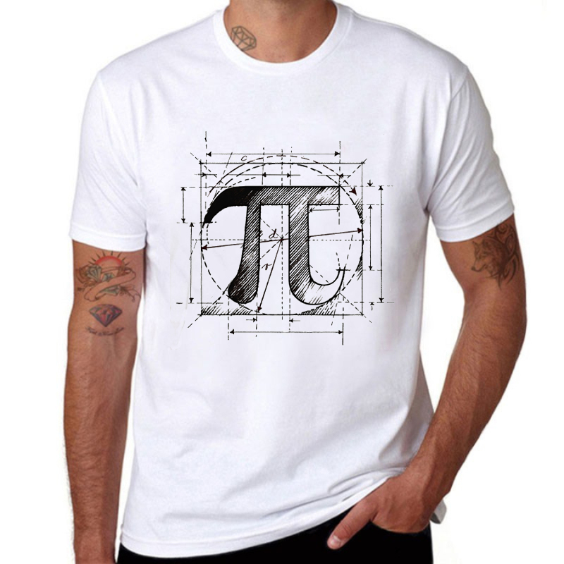 Hot Sale Vintage Symbol Sketch Math Pi   T  -  Shirt   Creative Design Printed Short Sleeve   T     Shirt   Men Tees