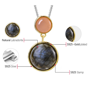 Image 5 - Lotus Fun Real 925 Sterling Silver Natural Stone Handmade Fine Jewelry Mysterious Lake Design Pendant without Chain for Women