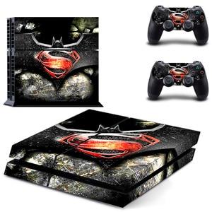 Image 1 - סופרמן VS באטמן לשחק 4 עור ויניל מדבקות עור עבור לשחק תחנת 4 קונסולת PS4 + 2Pcs מדבקות עבור ps4 אבזרים