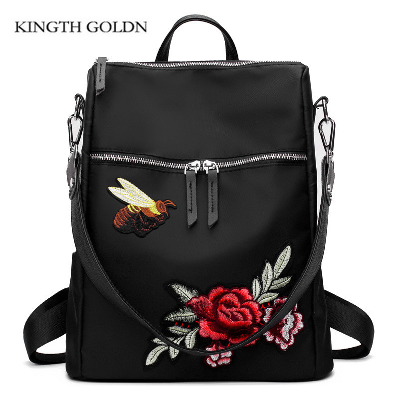 все цены на KINGTH GOLDN Waterproof Embroidery Nylon Backpack Women Flower Embroidered Shoulder Bags Travel Backpacks Schoolbag Rucksack