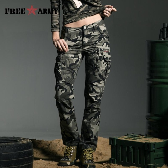 Band Military Style Camouflage Women's Pants High Quality Mid Waist Cargo Camouflage Army Green Leisure Trousers Capris GK-9370B