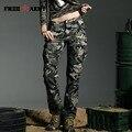 Banda de Estilo Militar de Camuflaje Pantalones de Las Mujeres de Alta Calidad Mediados de Cintura Capris de Camuflaje Del Ejército de Carga Pantalones de Ocio Verde GK-9370B