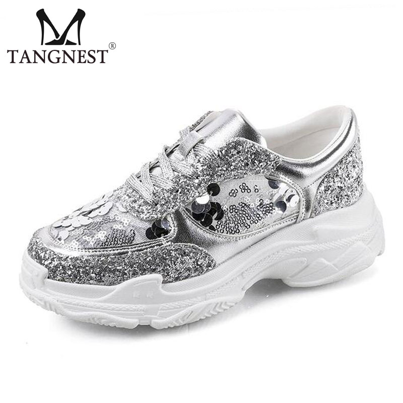 Tangnest NEW Glitter Flat Platform Womens Sneakers Casual Lace Up Height Increasing Shoes Women Fashion Creepers Sliver