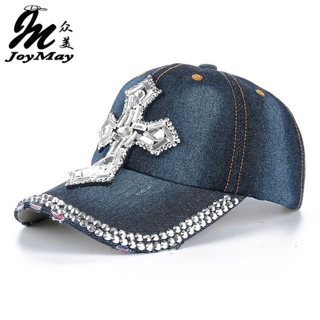 2016 Brand New  Fashion Jean Baseball Hat Cap Rhinestone Glasses Decorated Sports Snapback Hat Cap For Woman Man B141