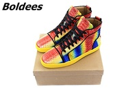Boldees Chaussure Homme Rainbow Snakeskin Unisex Men Casual Sneakers Luxury Brand Fashion Leather Shoes Lace Up Mens Flats Hot