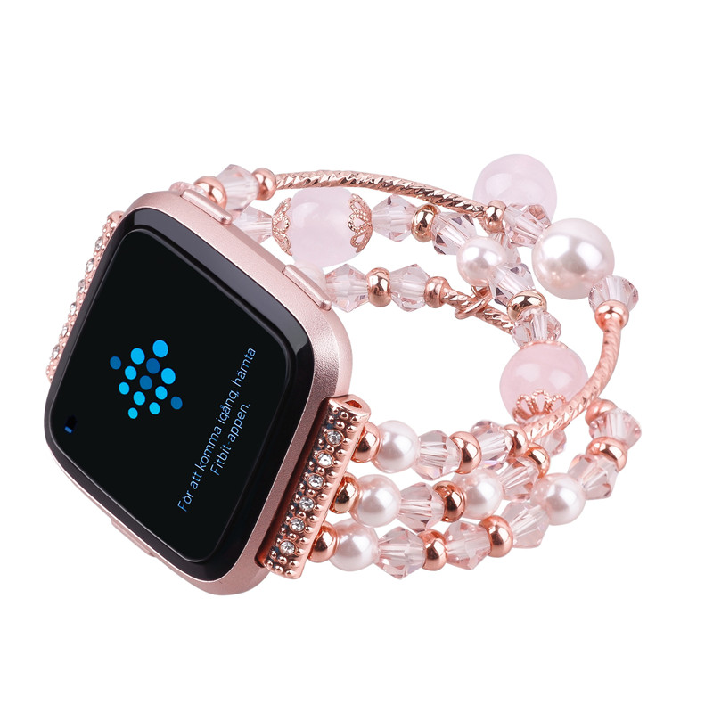 Agate Gem Watch Band Strap Bracelet For Fitbit Versa SmartWatch Watachband Wristband Girl Woman Female Jewelry