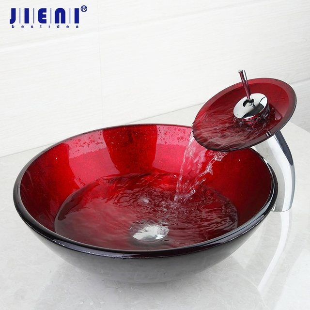 Modern Red Luxury Washbasin Tempered Gl Matching Waterfall Faucet Countertop Vessel Sink Bowl Sets