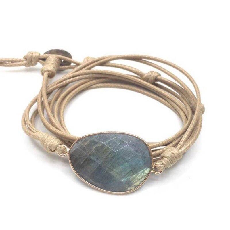 Rope Wrap Bracelet Natural Stones Labradorite Boho Long Friendship Bracelet Unique Handmade Ethnic Bracelets Dropshipping 3