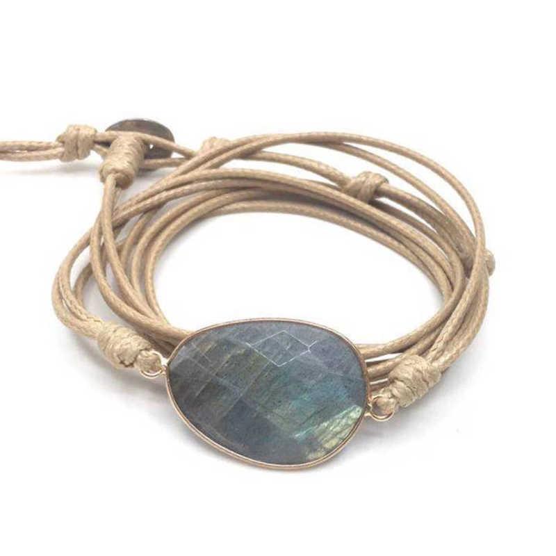 เชือกสร้อยข้อมือหินธรรมชาติ Labradorite Boho ยาวสร้อยข้อมือมิตรภาพที่ไม่ซ้ำกัน Handmade ชาติพันธุ์สร้อยข้อมือ Dropshipping