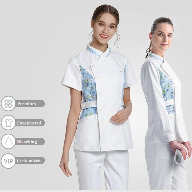 976e2535022 Daisies White Medical Scrubs Top Nursing Clothing for Women Y-Neck Flex  Plus Size Workwear Hospital Clothes Top Nurse Scrub Tops