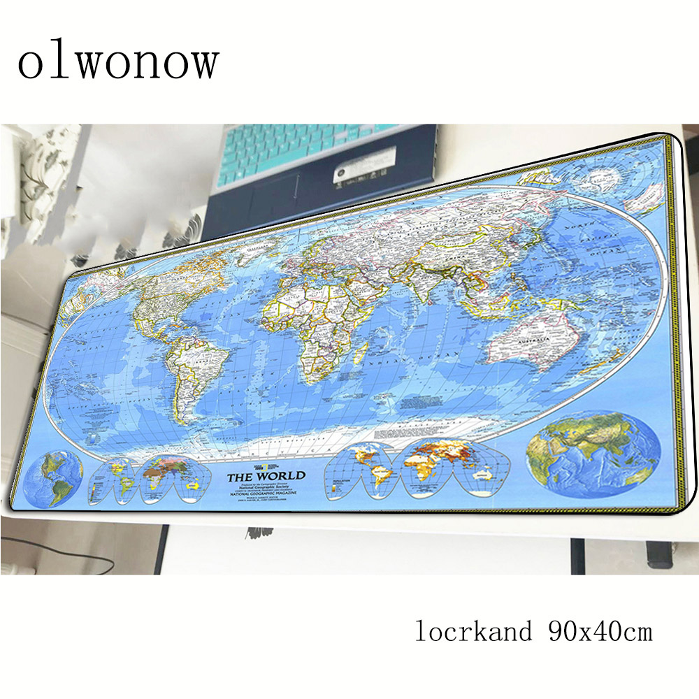 World Map Pad Mouse Computer Gamer HD Print Mouse Pad 900x400x3mm Padmouse High Quality Mousepad Ergonomic Gadget Office Mats
