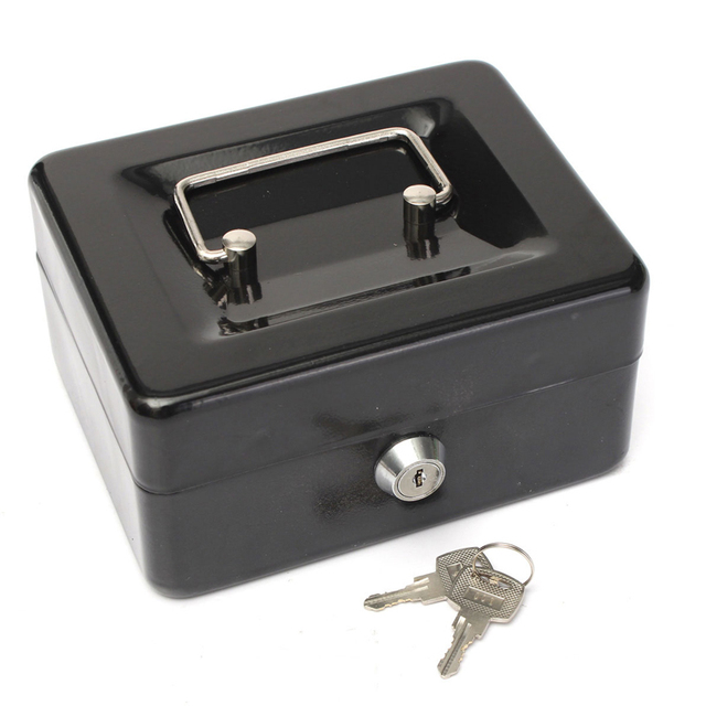 Mini Portable Steel Construction Lock Cash Safe Box with 7 Compartment Tray Lockable Coin Security Box