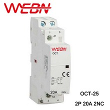 цена на OCT Series AC Household Contactor 230V 50/60Hz 2P 20A 2NC Two Normal Close Contact Din Rail Contactor