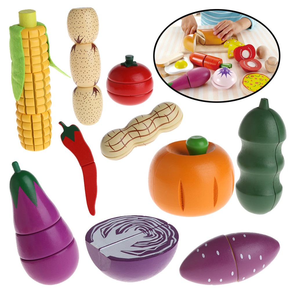 HBB Wooden Cutting Food Vegetable Chopping Pretend Play Educational Toy Gift For Kid