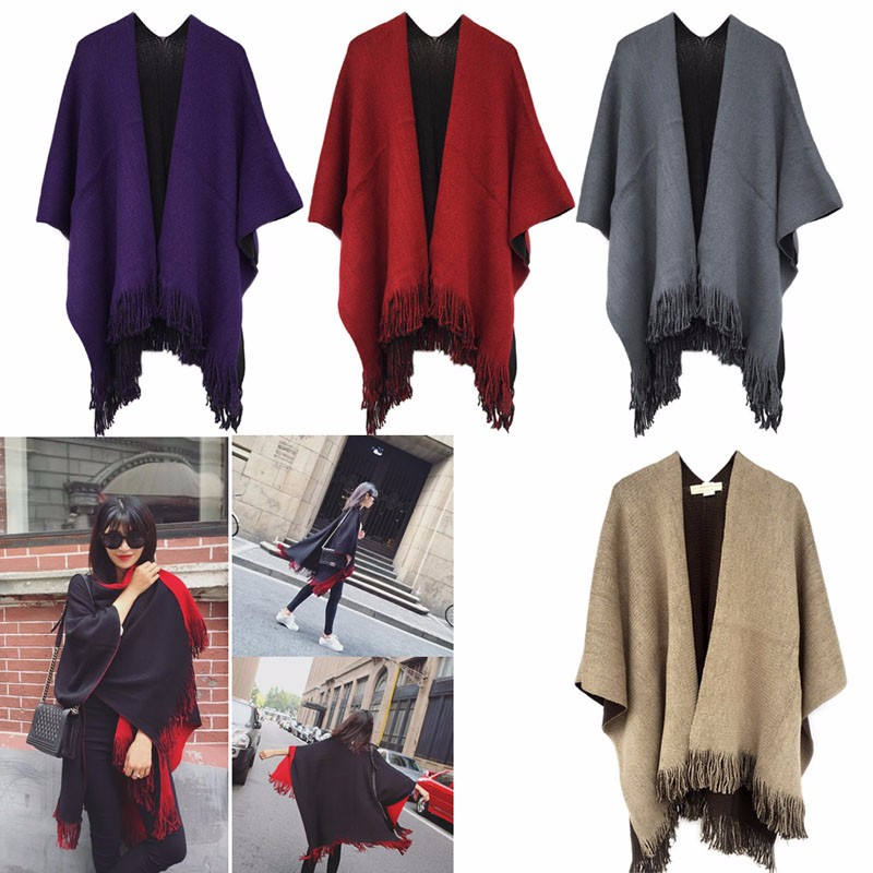 Fashion Women Blanket Oversized   Scarf     Wrap   Long Tassel Fringe Knit Shawl Poncho   Scarves