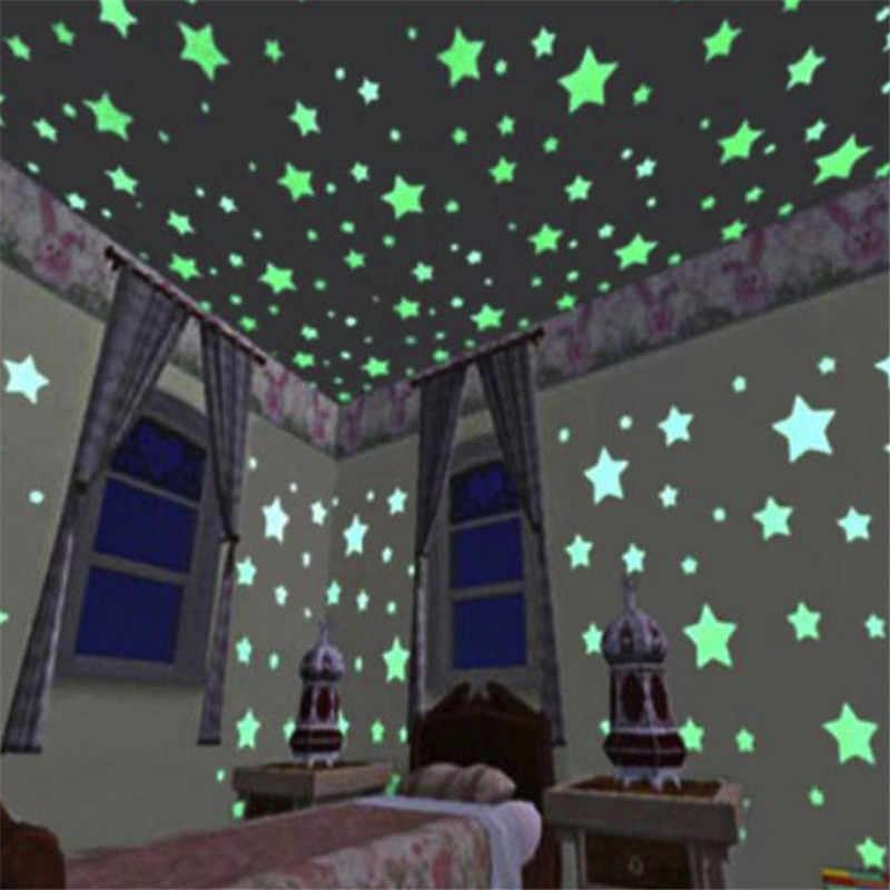 50pcs//bag3cm Glow in the Dark Toys Luminous Star Stickers Bedroom sofa kids room
