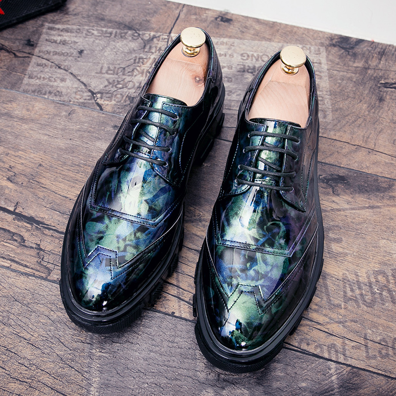 Shoes Luxury Brand Shoes Men Print Flower Footwear Male Platform Camouflage Formal Leather Dress Flat Mixed Colors Fashion Oxford Shoe