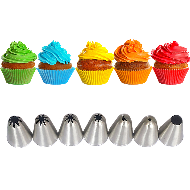 7pcs Large Pastry Tips Cake Decorating Tools Set Icing Piping Cream Nozzles Stainless Steel Cupcake Sugarcraft