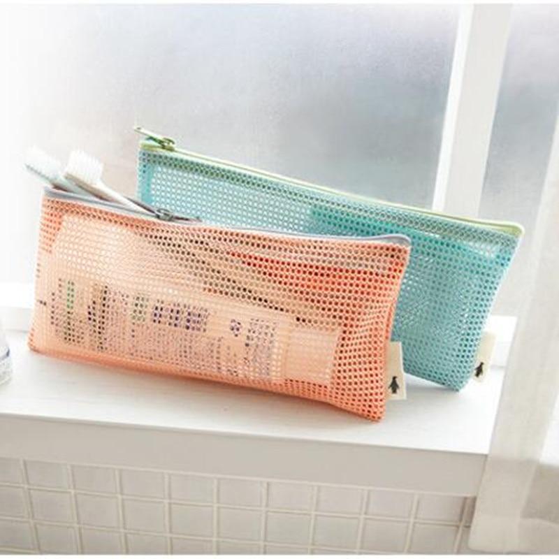 Korean Women Cosmetic Makeup Bag Pencil Case Mesh Slim Pouch For Travel Toiletries Bath Bag Organizer bag Free Shipping 263