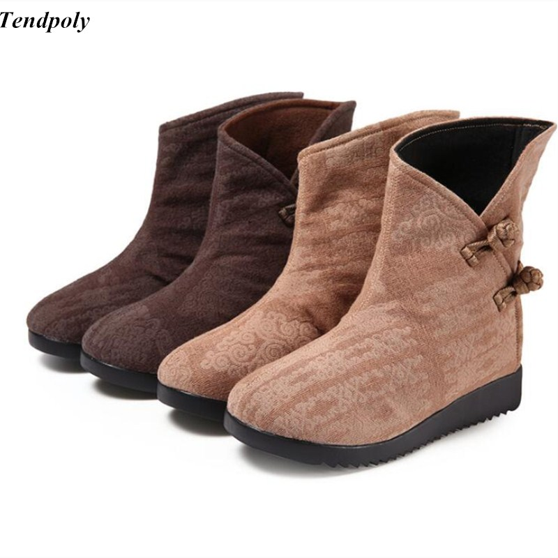 Autumn  winter size (35-40) new Womens boots with low all-match Han jacquard folk style of old Beijing snow Casual Women shoes