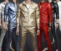 Мужской кожаной одежды верхней одежды красный тонкий PU мотоцикла дизайн мужская одежда из кожи певица танцор шоу