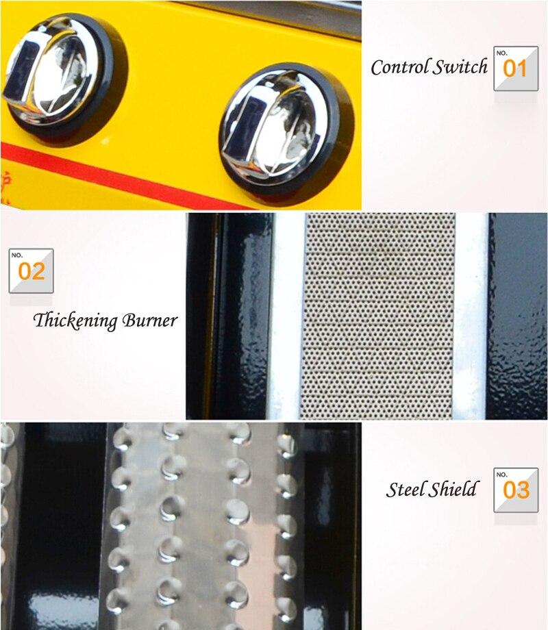 GZZT барбекю гриль LPG газ 2/4 горелки желтый стеклянный экран Регулируемый барбекю Portatif барбекю гриль для наружного предпочтения - 4