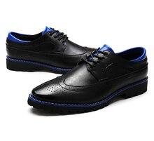 Men's PU Leather Brogues Shoes Lace Up Wedding Formal Dress Shoes Man Flats Oxfords Shoes Zapatillas Deportivas Hombre X121511
