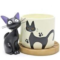 1set Studio Ghibli Figures Toy Hayao Miyazaki Cute Cup Kiki Cat Flower Pot PVC Action Figure Toys Collection Model Toy
