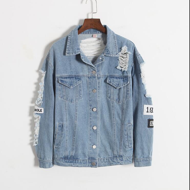Korea retro washing frayed tattered embroidery letter loose back patch jeans <font><b>jacket</b></font>