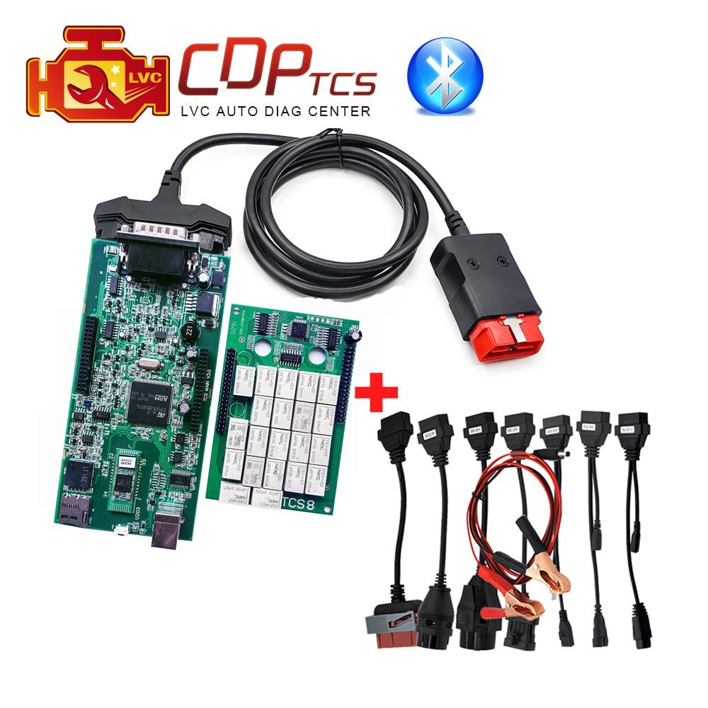 Цена за Двойная зеленая pcb CDP TCS Pro Plus Bluetooth 2015. R3 с Keygen OBD2 сканер автомобили Грузовики инструменту диагностики + Полный комплект 8 автомобилей Кабели
